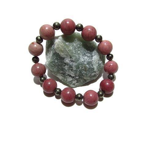 Bracelet Rhodonite Pyrite 12 mm