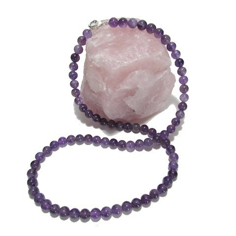 Collier Amethyste perles 6 mm