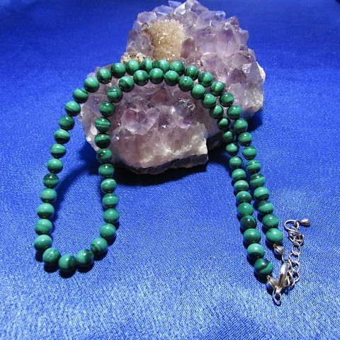 Collier perles Malachite 6 mm