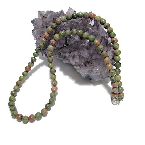 Collier Unakite perles 6 mm