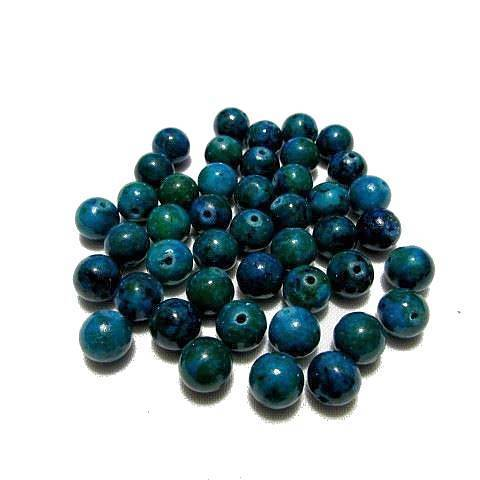 Perle ronde Chrysocolle azurite 10 mm